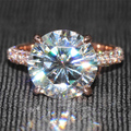 Queen Brilliance Luxury 5 Ct F Color Engagement Wedding Moissanite Diamond Ring With Diamond Accents Solid 14K 585 Rose Gold