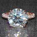 Queen brilliance de lujo 5 ct f color de compromiso del anillo de diamante de moissanite con acentos de diamante sólido 14 k 585 de oro rosa