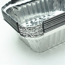 10PCS 410ML Tin cardboard box disposable lunch fast food packing baked lunch tin foil aluminum foil box bowl rectangular(China)
