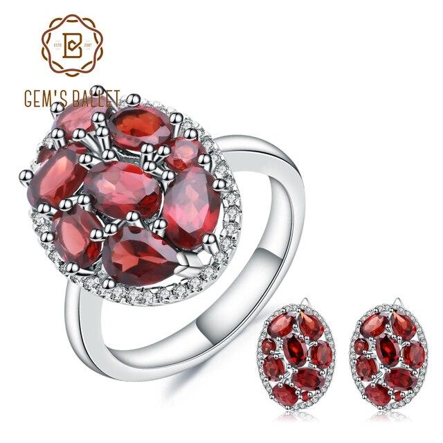 GEMS BALLET Natural Garnet Earrings Ring Set 925 Sterling Silver Gemstone  Vintage Jewelry Set For Women Gift Fine Jewelry