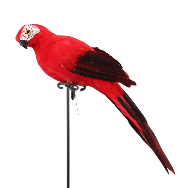 Ручной работы моделирование попугай сад Декор Творческий перо газон пена фигурка орнамент животное птица забор птица реквизит украшения - Цвет: Красный