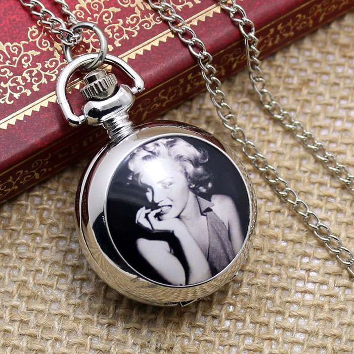 Silver Vintage Monroe Beautiful Lady Chain Pendant Quartz Pocket Watch Women Men New Year Gift