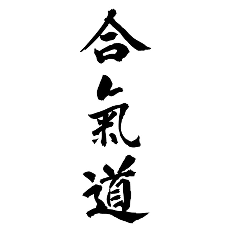 5*15.2CM AIKIDO Kanji Love Creative Car Body Decal Chinese Characters Car Styling Car Stickers Black/Silver C9-0636