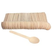 Respetuoso del medio ambiente 100 unids miel de Bambú cuchara de Café cuchara de té Cuchara De Madera Vajilla Desechable BARBACOA Vajilla