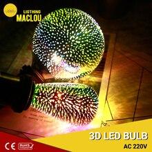 3D LED Lamp 220V E27 ST64 G95 Light Bulb Fireworks Colorful Ampoule Edison Bulb Vintage Home Decor Party Novelty Lamp Lighting