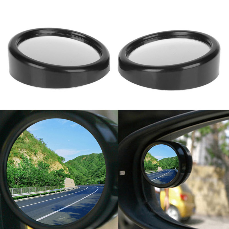 1Pc 360 Degree Car Mirror Wide Angle Convex Blind Spot Mirror Auto Rrotable Reflector Rearview Rear View Blindspot Mirror Black