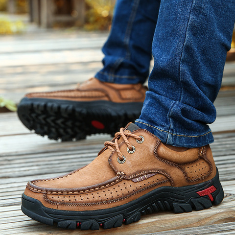 cow leather men brand running shoes genuine leather jogging training shoes breathable outdoor sport running sneakers male shoes Karachi
