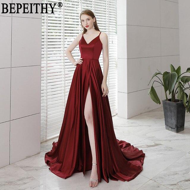 BEPEITHY Vestido De Festa nowy projekt seksowna szczelina formalna sukienka bordowy V Neck długie suknie wieczorowe odblaskowa sukienka 2019