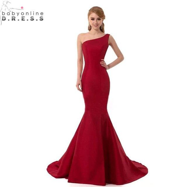 Cheap Real Image One Shoulder Mermaid Burgundy Black Purple Bridesmaid  Dresses Long 2017 Robe Demoiselle D honneur Formal Dress a612e2e04c82