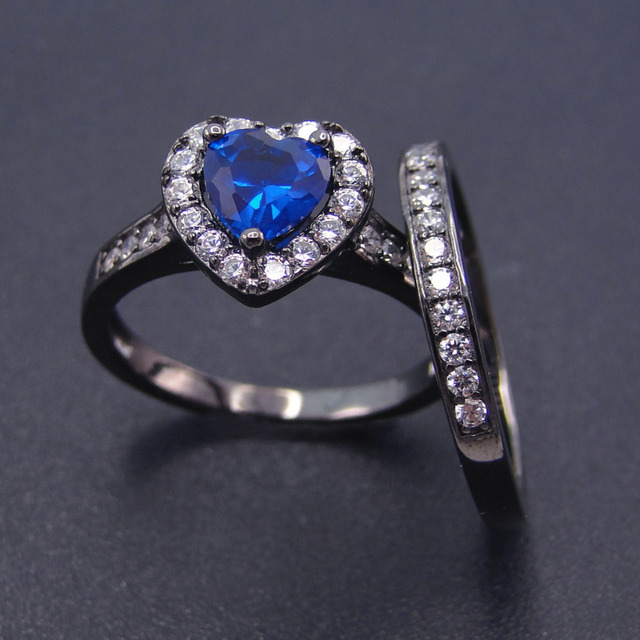 Wedding Rings Set 100% 925 Silver Ring Sets Blue Color Stone Heart Shape  Black Gold