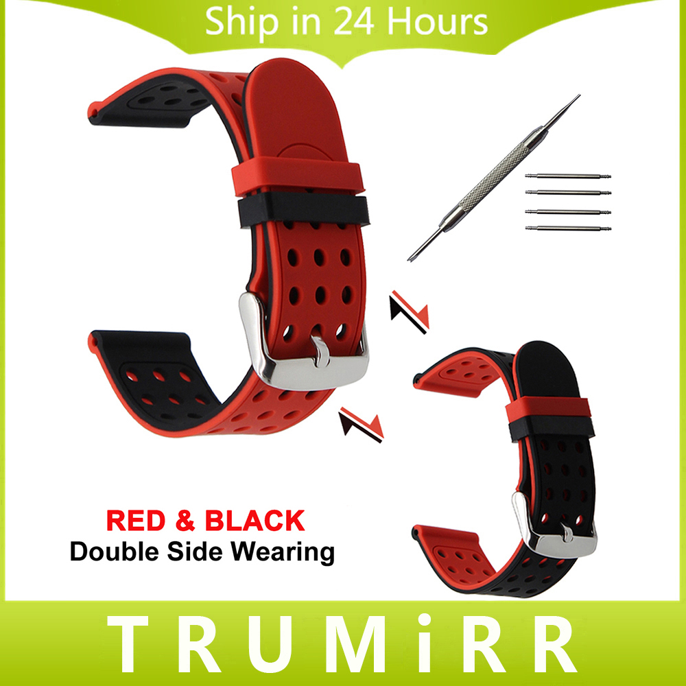 где купить 20mm 22mm 24mm Silicone Rubber Watchband Double Side Wearing Strap for Diesel Men Women Watch Band Wrist Belt Bracelet Black Red по лучшей цене