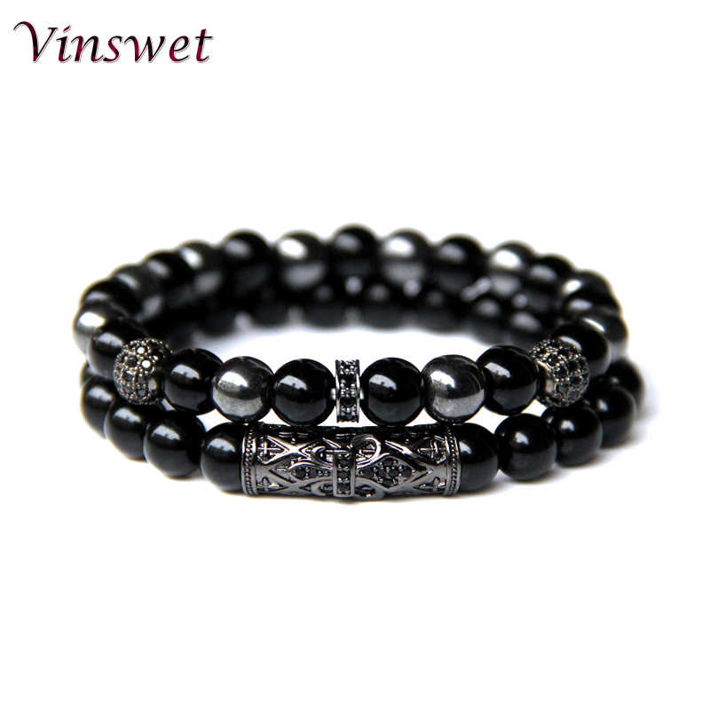 Vinswet 2pcs Bead Bracelet Men Natural Tiger Eye Hematite Obsidian Beaded Bracelets Homme Energy Stretch Bracelet Men Jewelry