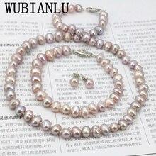 WUBIANLU Conjuntos de collar de perlas de Purpel, broche de pescado, collar de 7 8mm, pulsera de 18 pulgadas, pendiente de 7,5 pulgadas, diseño de joyería para mujer