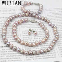 WUBIANLU Purpel 真珠のネックレスセット魚クラスプ 7 8 ミリメートルネックレス 18 インチブレスレット 7.5 インチイヤリング女性ジュエリー作成デザイン