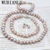 WUBIANLU Purpel Conjuntos de Collar de Perlas de Pescado Pulsera del Corchete 7-8mm Collar de 18 Pulgadas 7.5 Pulgadas Pendiente Joyería de Las Mujeres fabricación de Diseño