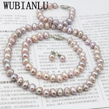WUBIANLU Purpel Pearl Necklace Sets Fish Clasp 7 8mm Necklace 18 Inch Bracelet 7.5 Inch Earring Women Jewelry Making Design
