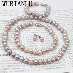 Image 1 - WUBIANLU Purpel Pearl Necklace Sets Fish Clasp 7 8mm Necklace 18 Inch Bracelet 7.5 Inch Earring Women Jewelry Making Design