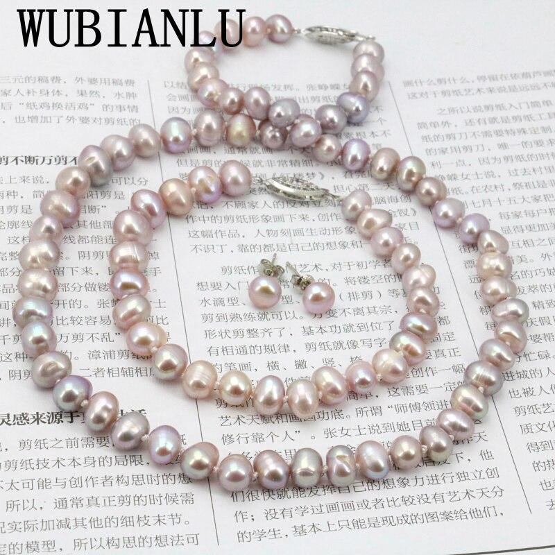 WUBIANLU púrpura collar de perlas establece pescado Cierre de 7-8mm collar de 18 pulgadas pulsera 7,5 pulgadas pendiente joyería de las mujeres haciendo diseño