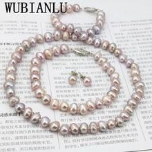 Жемчужное ожерелье WUBIANLU с фиолетовым жемчугом, женское ожерелье 7 8 мм, браслет 18 дюймов, серьги 7,5 дюйма, дизайн для изготовления украшений