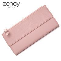 100 Natural Cowhide Leather Lady Wallets Top Quality Soft Money Cilps Long Purses Multi Card Holders