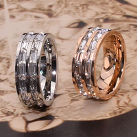 Stainless Steel Crystal Rose Gold Color Couple Ring Silver Double Korean Titanium Silver Wedding Ring For