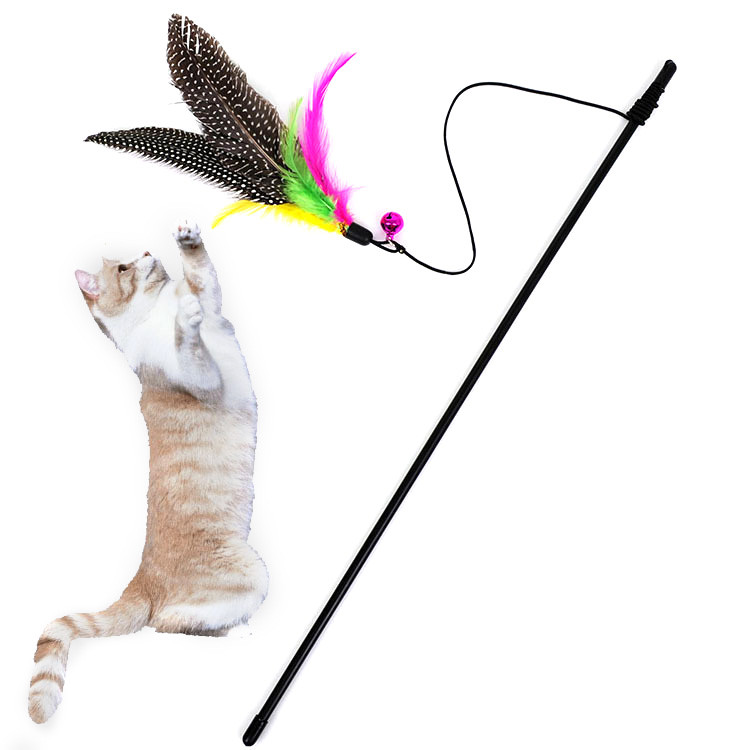 Ishowtienda Kitten Cat Teaser Interactive Toy  Rod With Bell And Feather Toy For Cats Cat Catcher Teaser Toy