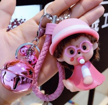sunhat love heart face Monchhichi Gold Metal Keychain Monchichi Car Keyring Purse Messenger Bag Backpack Key Chain Pendant K-061