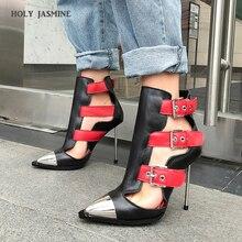 Новинка года; женские летние ботинки с пряжкой на полой подошве; женские роскошные брендовые панк-сандалии с металлическими элементами; красивые женские ботинки; женская обувь; большие размеры