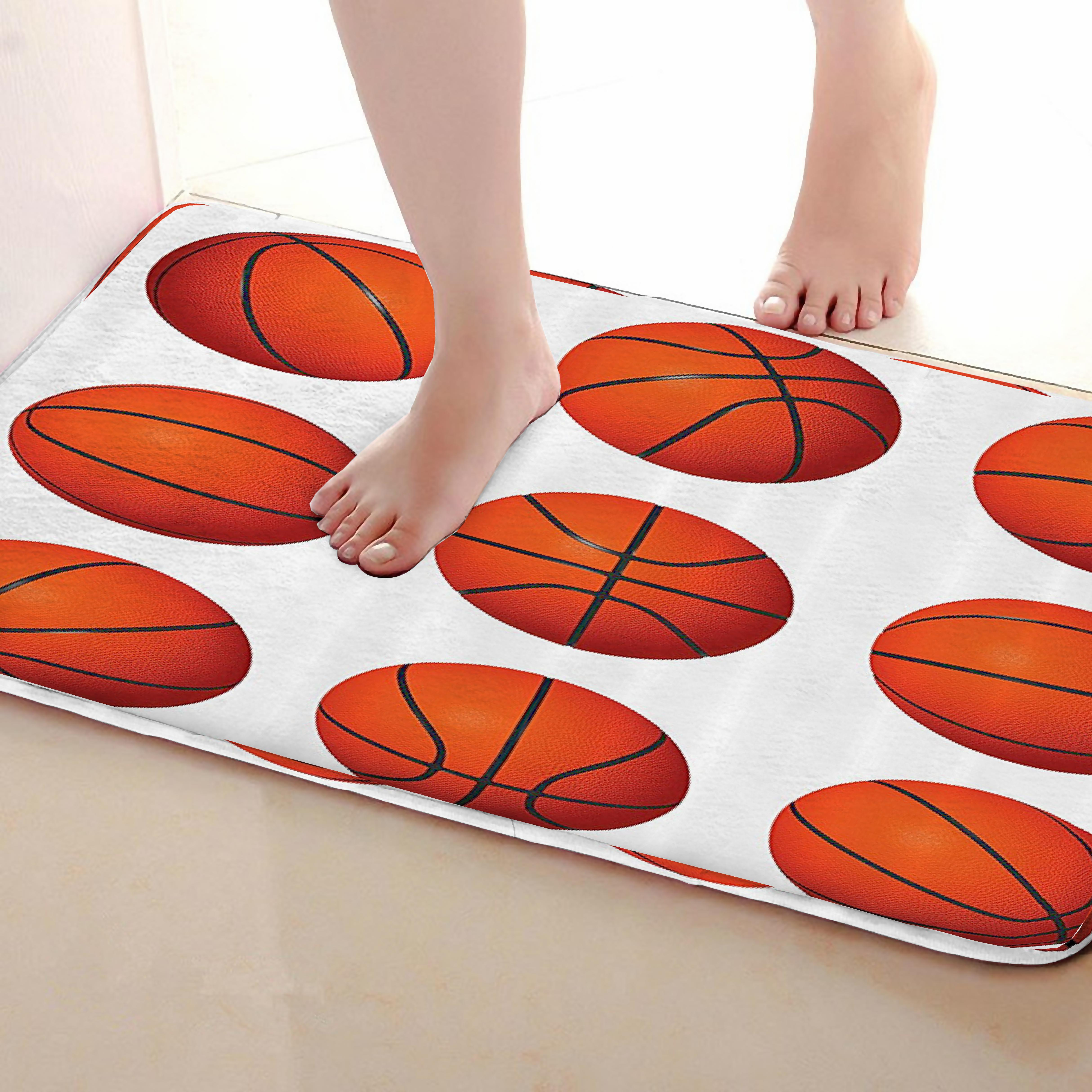 Basketball Style Bathroom Mat,Funny Anti Skid Bath Mat,Shower Curtains Accessories,Matching Your Shower Curtain