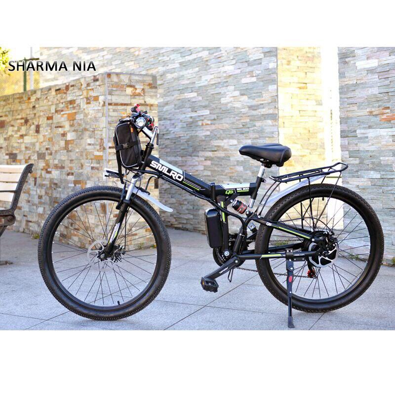 Elektrische Fahrrad Leistungsstarke Elektrische Fahrrad front tasche 48V 12AH 500W berg eBike 24 Geschwindigkeit Elektrische Fahrrad Russland freies verschiffen