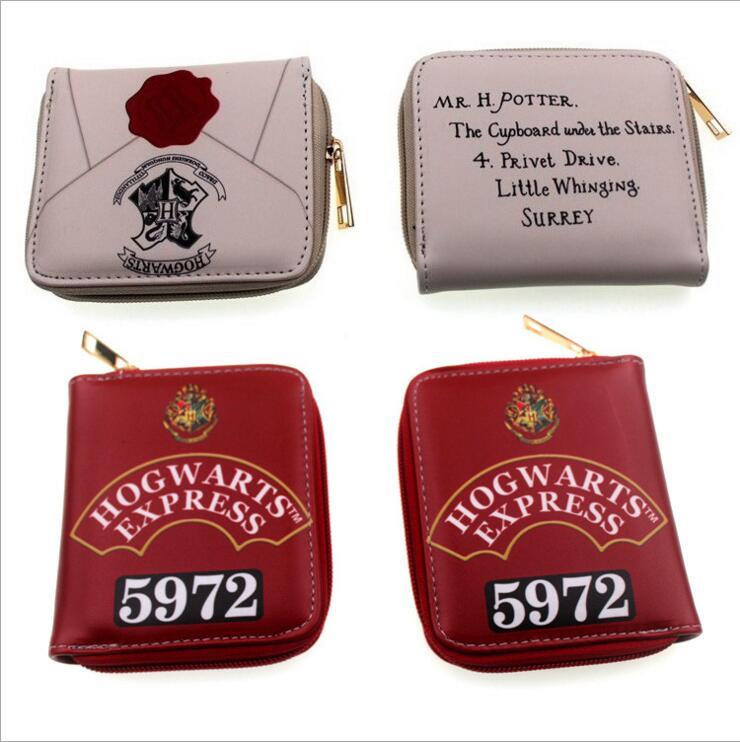 Unisex Cartoon short zipper purse harry potter women cion wallets Clutch bag hogwarts express hand takes Student Wallet Gift