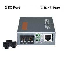 1 par Transceptor Gigabit HTB GM 03 2 KM Transceptor De Fibra Ótica Multimodo Conversor Fotoelétrico 2 SC Interface com RJ45