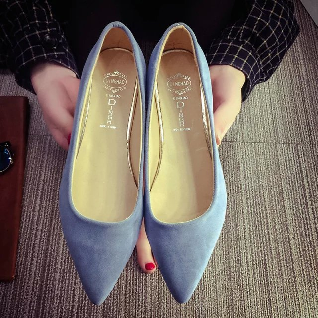New Spring Autumn Women Shoes Pointed toe High Quality Brand Fashion OL Dress Womens Flats Ladies Shoes Black Blue Pink Gray kbstyle 2017 new spring shoes for women brand pointed toe womens flats fashion young ladies casual shoes hot sale wholesale