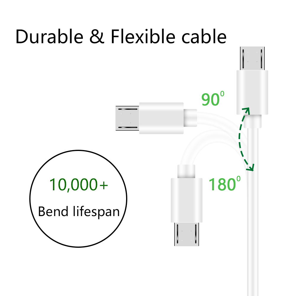 500pcs/lot white 1M Micro USB Data Sync Charger Cable Cord