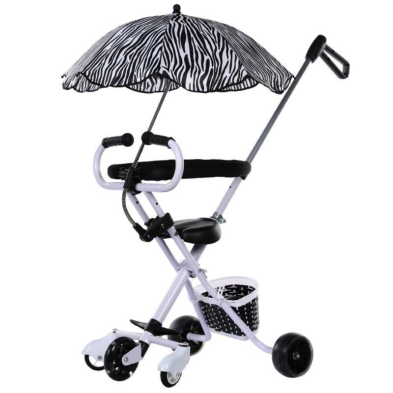 Three Wheels Stroller Activity & Gear Five Flash Wheels Baby Umbrella Car Baby Walking Carrier Children Trolley Portable Folding Three Wheels Stroller Tricycle 1-6 Y