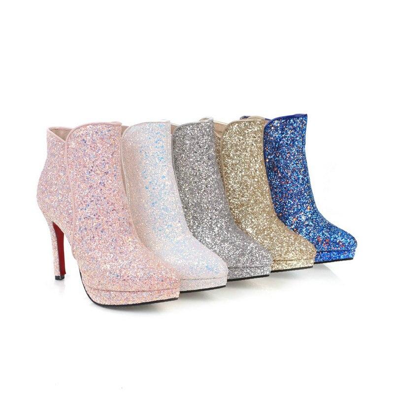 Mujer oro Oficina Ladies Tobillo Otoño Altos Rosa Invierno Tacones Grande plata Zapatos rosado Azul Vestido Partido Oro Bling Nuevo Azul Botas Blanco 43 Del blanco Tamaño wBTq8Tz