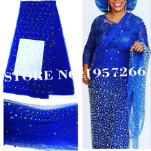 African Embroidered Nigerian Beaded Lace Fabric