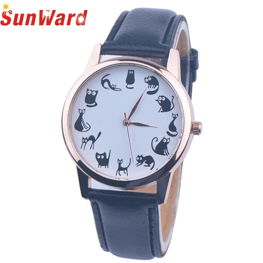 SunWard 2017 New Cartoon Cat Watches Women Fashion Leather Band Analog Quartz WristWatches Bracelet bayan saat reloj mujer New cartoon gold horse print blue leather strap sports ladies quartz watch relojes hombre 2017 bayan saat women watches hodinky b133