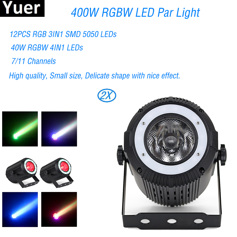 2Pcs LED Par Light RGBW 40W Disco DJ Wash Light Equipment 12PCS SMD 5050 LEDs Uplights Stage Lighting Effect Light Fast Shipping