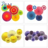6 sztuk/zestaw Kolorowe koła fanów Bibuły Kwiaty piłki latarnie Party Decor Craft Dla Bar Birthday Party Dekoracje Ślubne