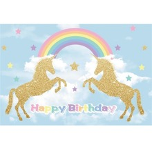 Laeacco Gold Unicorn Party Backdrops Baby Birthday Rainbow Star Cloud Poster Pattern Photography Backdrop Photocall Photo Studio