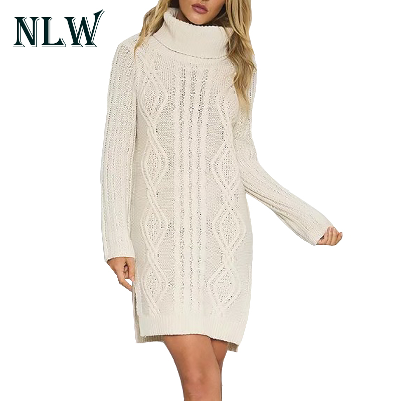 NLW Turtleneck Knitted Women Sexy Mini Sweater Dresses Long Sleeve Pullovers 2017 Autumn Winter Warm Jumper Dress Ladies Vestido