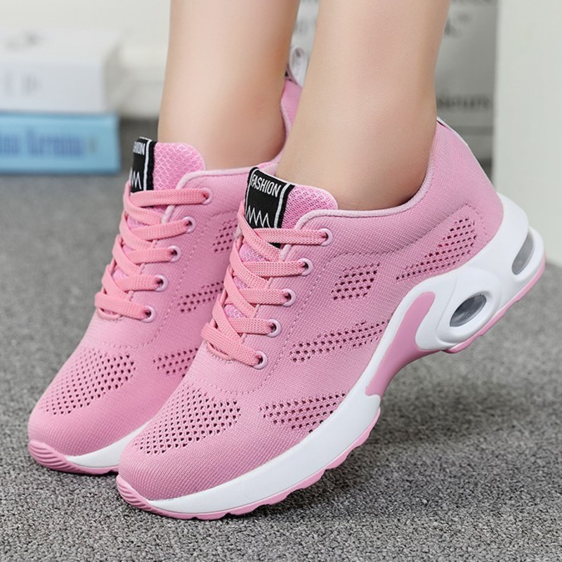 Tenis Mujer Hollow Air Cushion Women Tennis Shoes Pink Zapatos Mujer Breathable Mesh Sneakers Woman Sport Shoes Chaussures Femme image