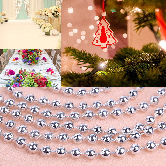 27m beads christmas tree decoration baubles silver plastic pearl beads fashion jewelry necklace diy make - Beaded Christmas Tree Decorations To Make
