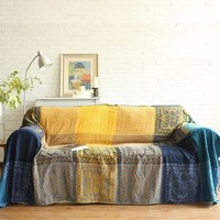 Vintage Ethnic Chenille Plaid Sofa Blanket Throw Decor Bohemian Weighted Knitted Throw Blanket On Couch/Bed/Travel Blanket Cover