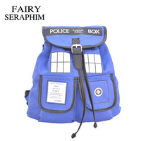 Doctor Who Backpack Canvas Printed Cartoon Dr Who Tardis Buckle Slouch Children School Bag Police Box