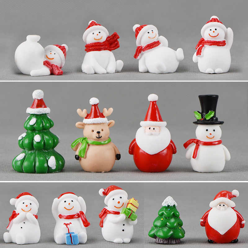 BAIUFOR Christmas Miniature Snowmen Santa Elk Christmas Tree Terrarium Figurines Fairy Garden Decor Snow Landscape Model