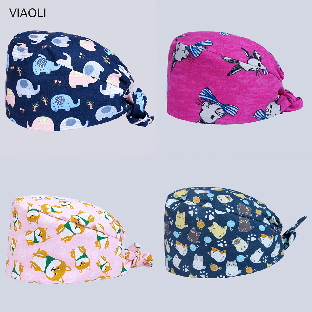 Wholesale Prices New Spring And Summer Multicolor Car Printing Operating Room Hats Beauty Doctors Work Cap 100% Cotton 2019 New
