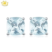 HUTANG Stone Jewelry 1.049ct Natural Aquamarine Cushion 5mm Stud Earrings Solid 925 Sterling Silver Gemstone Fine Jewelry Women