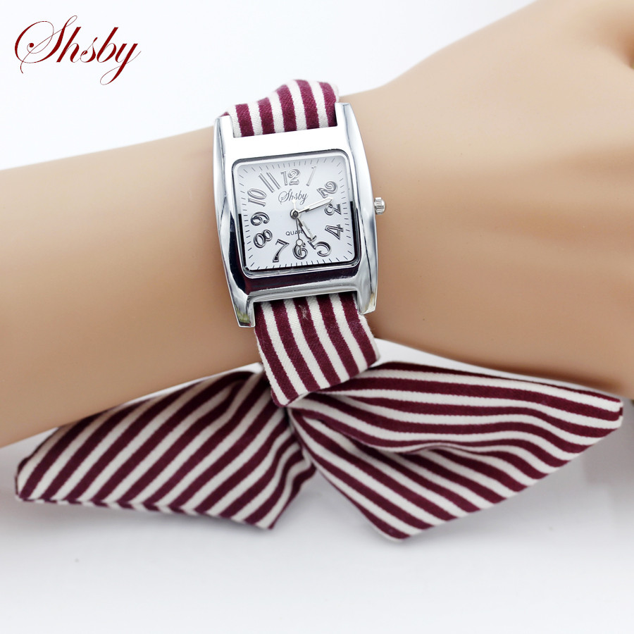 Shsby Brand New Ladies Concise Stripe Cloth Wristwatch Women Dress Watches High Quality Fabric Watch Sweet Girls Bracelet Watch